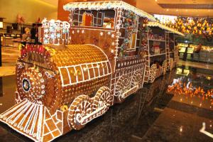 Life-size gingerbread train of Marriott Hotel Manila