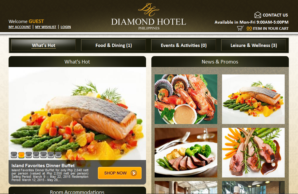 Diamond Hotel's new online retail site. Photo grabbed from the hotel's website.