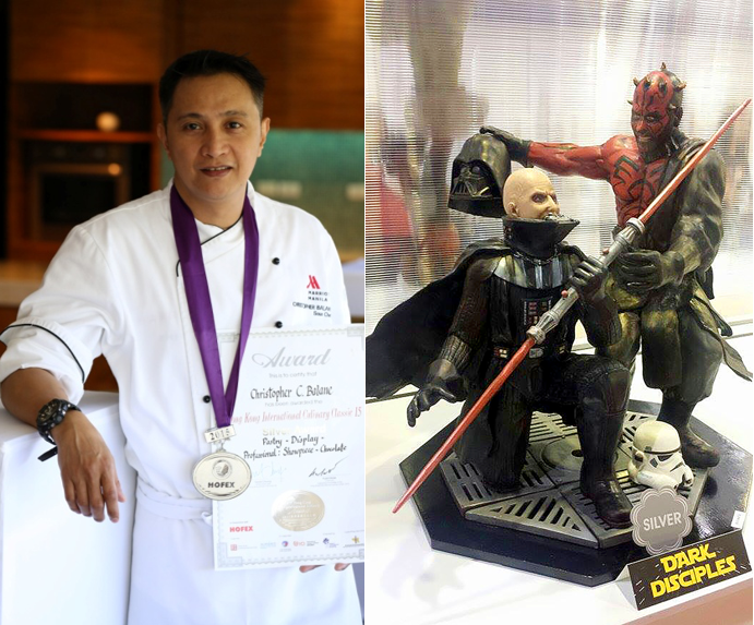 "Christopher Balane won silver at HOFEX for chocolate showpiece called ""Dark Disciples"". Photo courtesy of Marriott Manila"